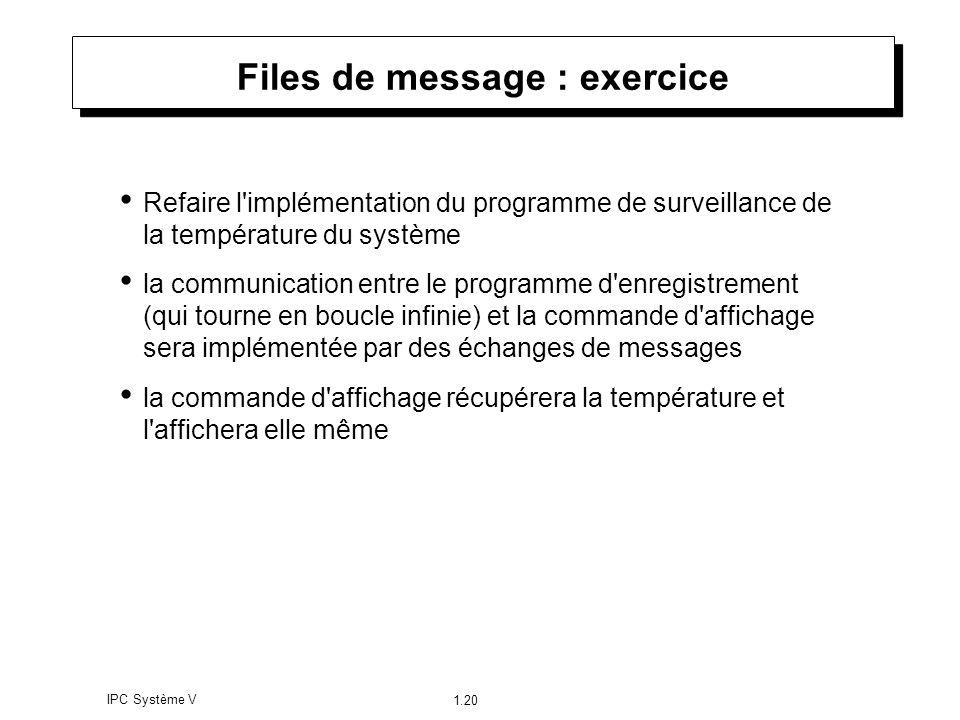 IPC Système V 1.20 Files de message : exercice Refaire l'implémentation du programme de surveillance de la température du système la communication ent