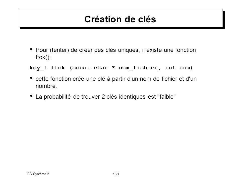 IPC Système V 1.21 Création de clés Pour (tenter) de créer des clés uniques, il existe une fonction ftok(): key_t ftok (const char * nom_fichier, int