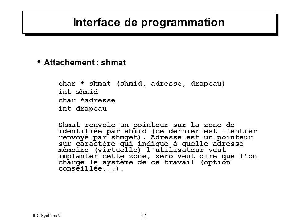 IPC Système V 1.3 Interface de programmation Attachement : shmat char * shmat (shmid, adresse, drapeau) int shmid char *adresse int drapeau Shmat renv