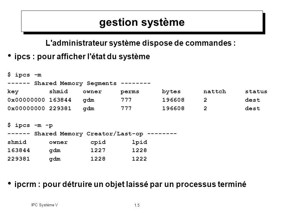 IPC Système V 1.5 gestion système L'administrateur système dispose de commandes : ipcs : pour afficher l'état du système $ ipcs -m ------ Shared Memor