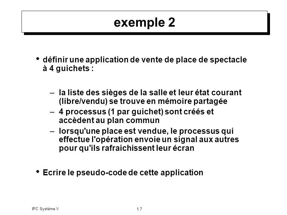 IPC Système V 1.7 exemple 2 définir une application de vente de place de spectacle à 4 guichets : –la liste des sièges de la salle et leur état couran