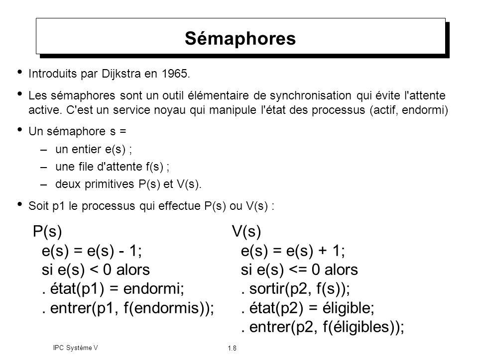 IPC Système V 1.8 Sémaphores Introduits par Dijkstra en 1965. Les sémaphores sont un outil élémentaire de synchronisation qui évite l'attente active.