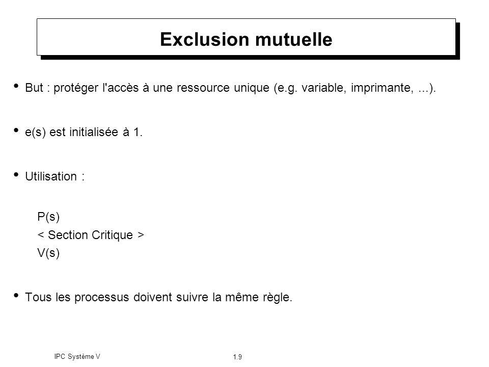 IPC Système V 1.9 Exclusion mutuelle But : protéger l'accès à une ressource unique (e.g. variable, imprimante,...). e(s) est initialisée à 1. Utilisat