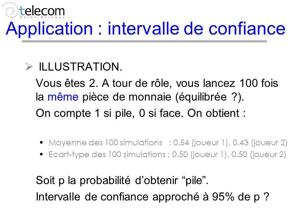 Application : intervalle de confiance ILLUSTRATION. Vous êtes 2. A tour de rôle, vous lancez 100 fois la même pièce de monnaie (équilibrée ?). On comp