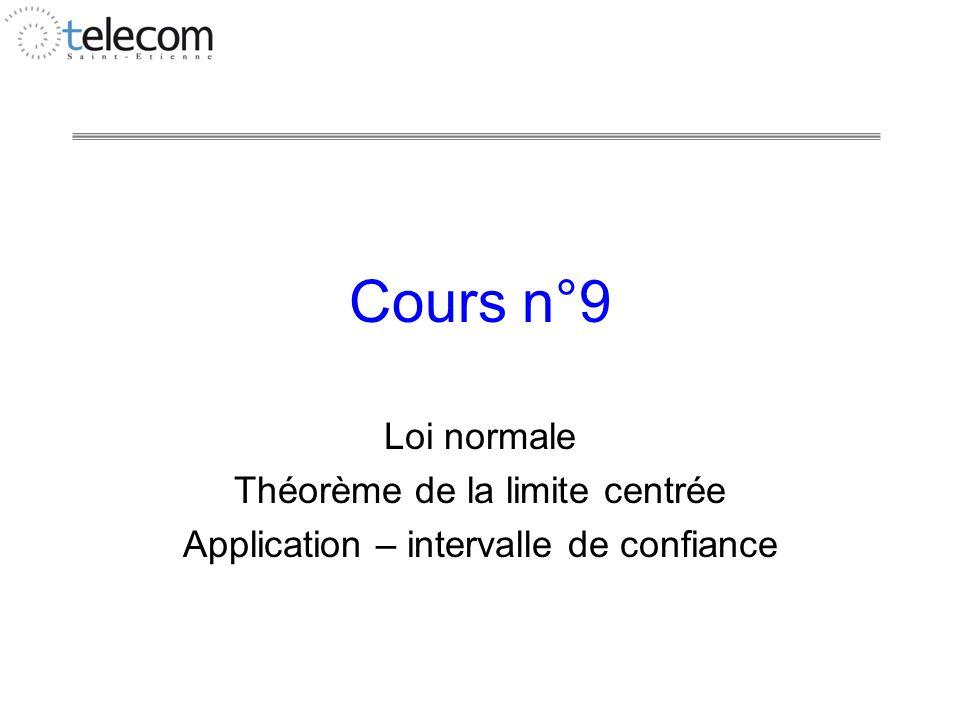 Cours n°9 Loi normale Théorème de la limite centrée Application – intervalle de confiance