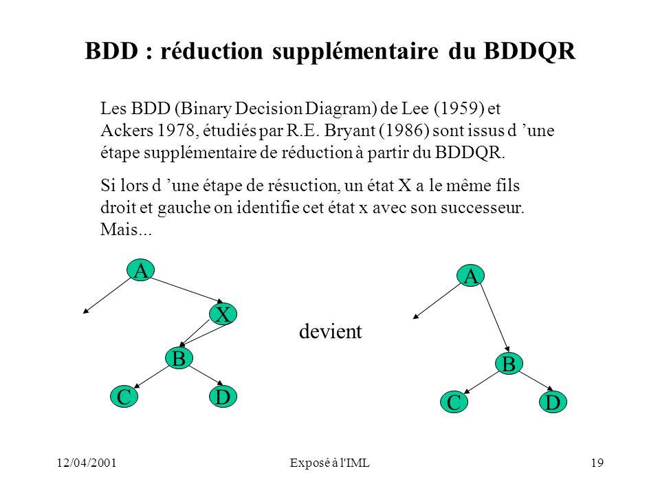 12/04/2001Exposé à l'IML19 BDD : réduction supplémentaire du BDDQR Les BDD (Binary Decision Diagram) de Lee (1959) et Ackers 1978, étudiés par R.E. Br