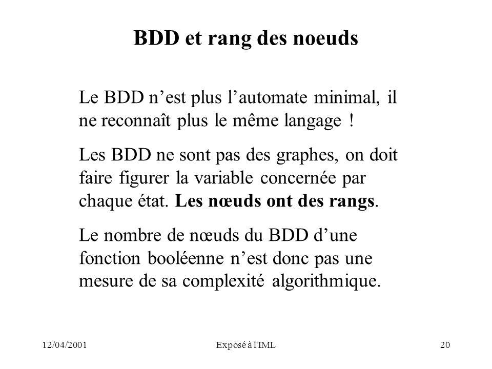 12/04/2001Exposé à l'IML20 BDD et rang des noeuds Le BDD nest plus lautomate minimal, il ne reconnaît plus le même langage ! Les BDD ne sont pas des g