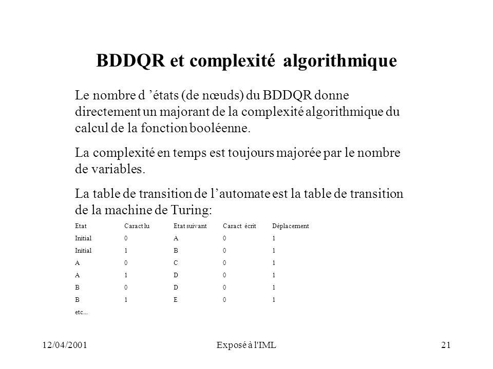 12/04/2001Exposé à l'IML21 BDDQR et complexité algorithmique Le nombre d états (de nœuds) du BDDQR donne directement un majorant de la complexité algo