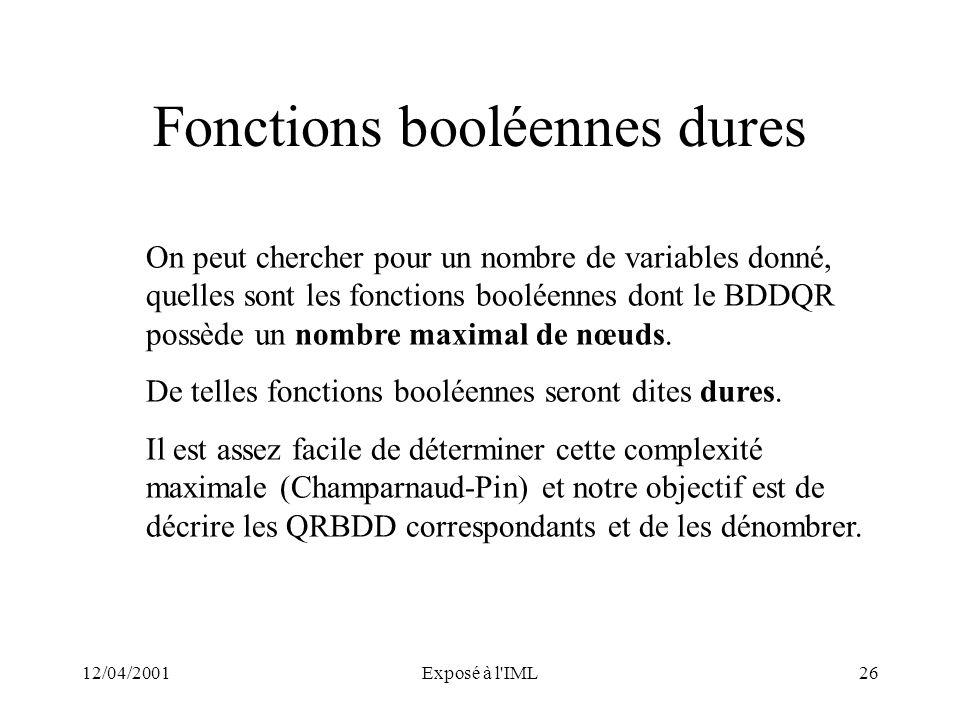 12/04/2001Exposé à l'IML26 Fonctions booléennes dures On peut chercher pour un nombre de variables donné, quelles sont les fonctions booléennes dont l
