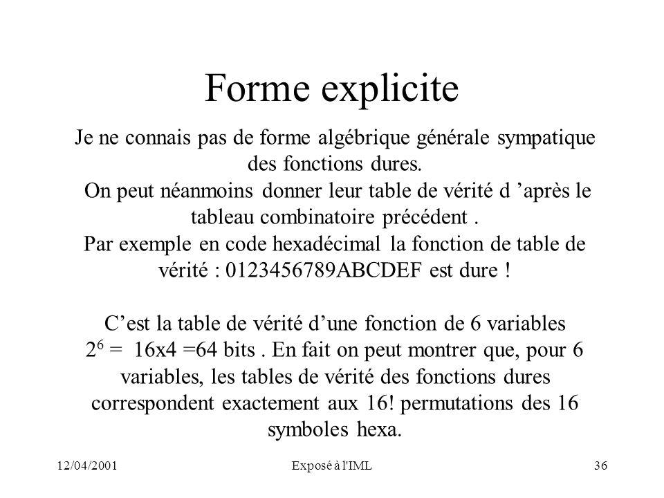 12/04/2001Exposé à l'IML36 Forme explicite Je ne connais pas de forme algébrique générale sympatique des fonctions dures. On peut néanmoins donner leu