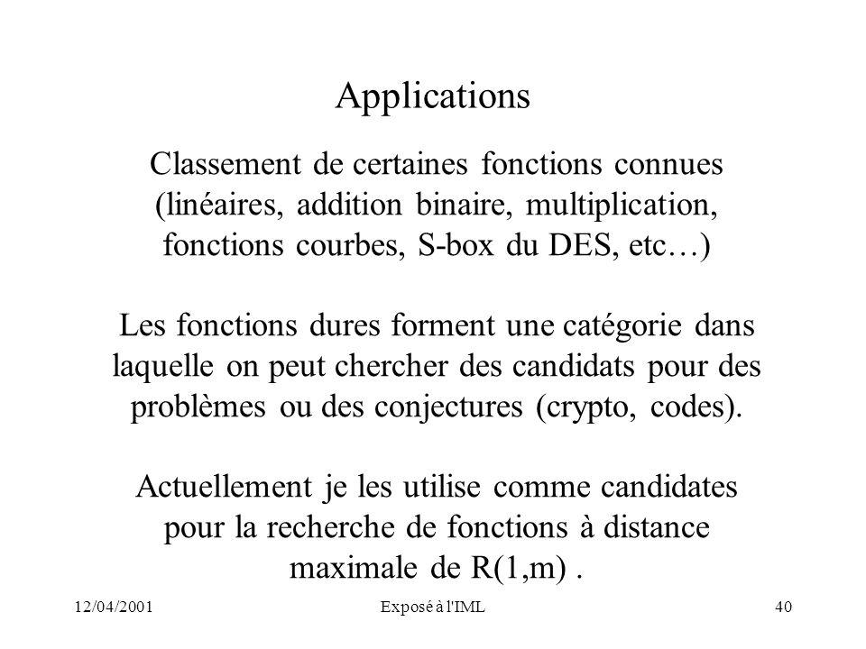 12/04/2001Exposé à l'IML40 Applications Classement de certaines fonctions connues (linéaires, addition binaire, multiplication, fonctions courbes, S-b