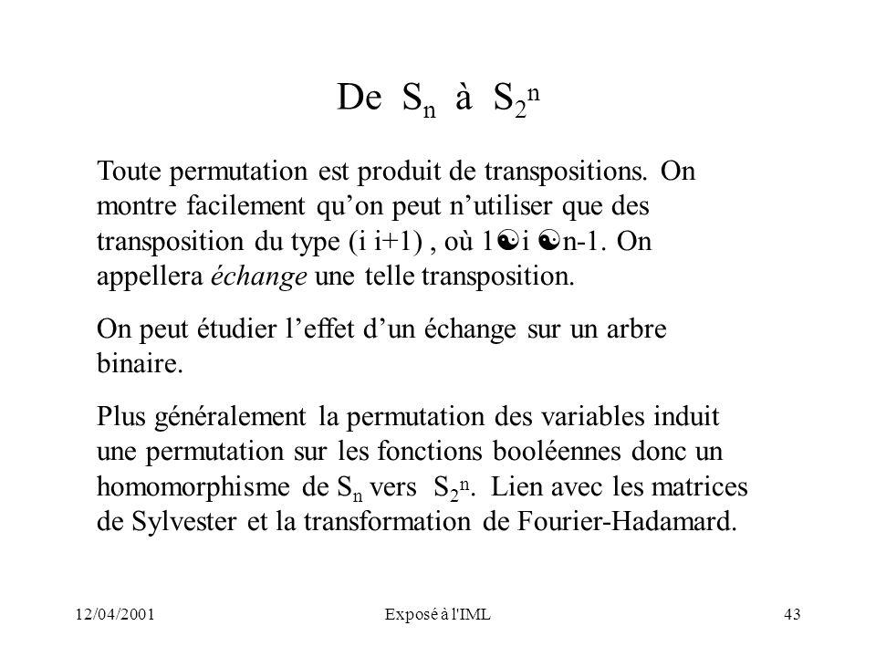 12/04/2001Exposé à l'IML43 De S n à S 2 n Toute permutation est produit de transpositions. On montre facilement quon peut nutiliser que des transposit