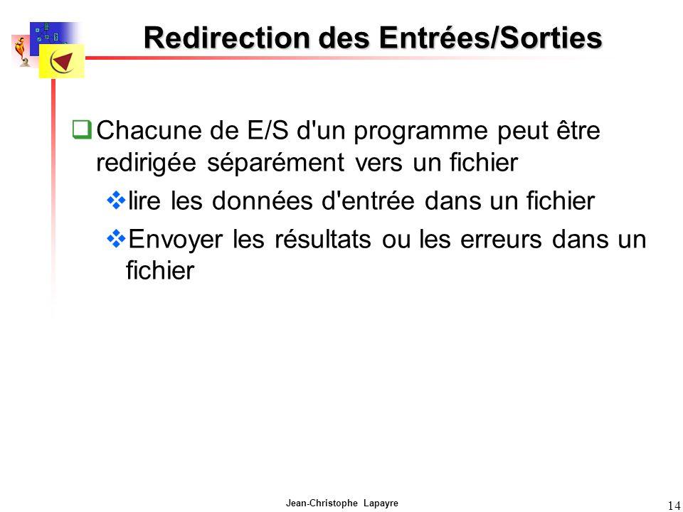 Jean-Christophe Lapayre 14 Redirection des Entrées/Sorties Chacune de E/S d un programme peut être redirigée séparément vers un fichier lire les données d entrée dans un fichier Envoyer les résultats ou les erreurs dans un fichier