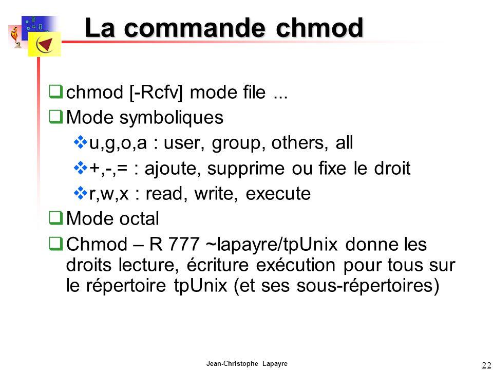 Jean-Christophe Lapayre 22 La commande chmod chmod [-Rcfv] mode file...
