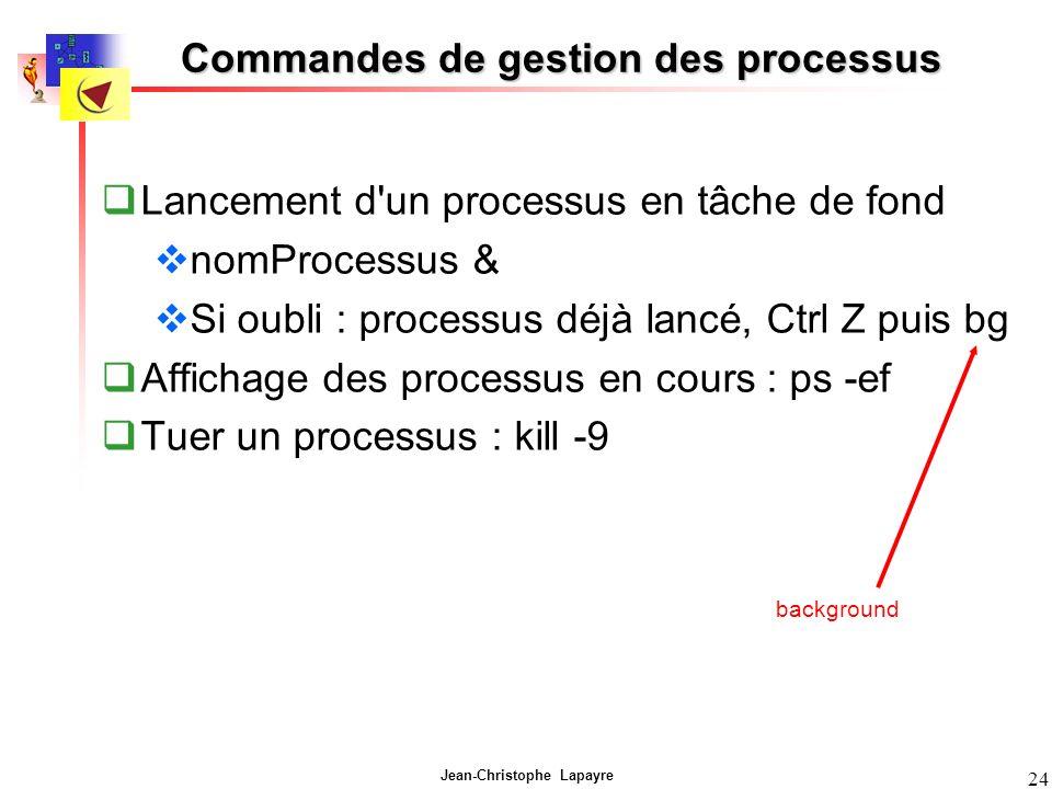 Jean-Christophe Lapayre 24 Commandes de gestion des processus Lancement d'un processus en tâche de fond nomProcessus & Si oubli : processus déjà lancé