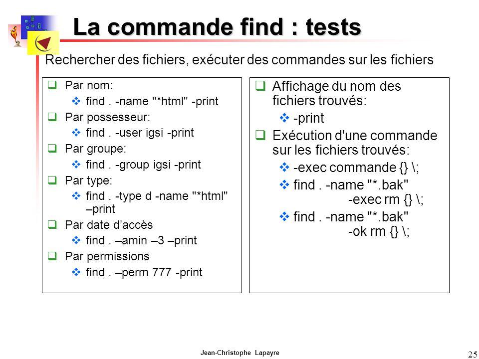 Jean-Christophe Lapayre 25 La commande find : tests Par nom: find.