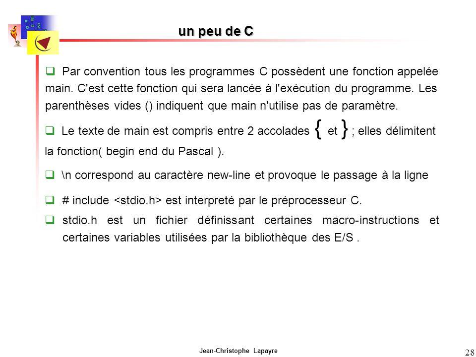 Jean-Christophe Lapayre 28 un peu de C # include est interpreté par le préprocesseur C. stdio.h est un fichier définissant certaines macro-instruction