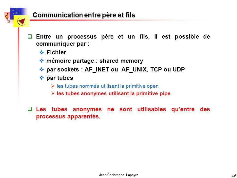 Jean-Christophe Lapayre 46 Communication entre père et fils Entre un processus père et un fils, il est possible de communiquer par : Fichier mémoire p