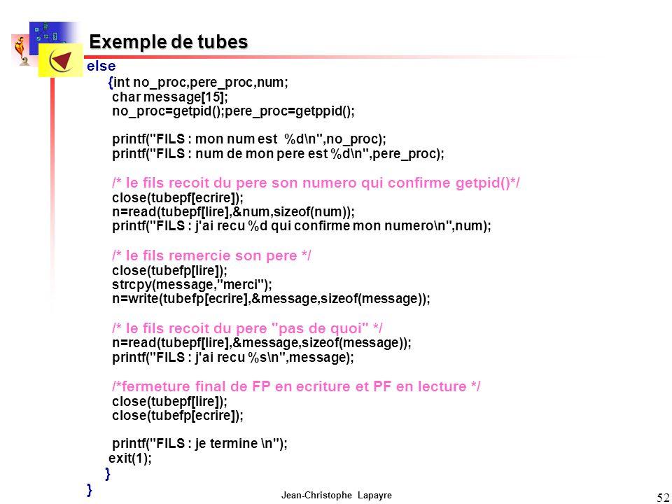 Jean-Christophe Lapayre 52 else { int no_proc,pere_proc,num; char message[15]; no_proc=getpid();pere_proc=getppid(); printf(