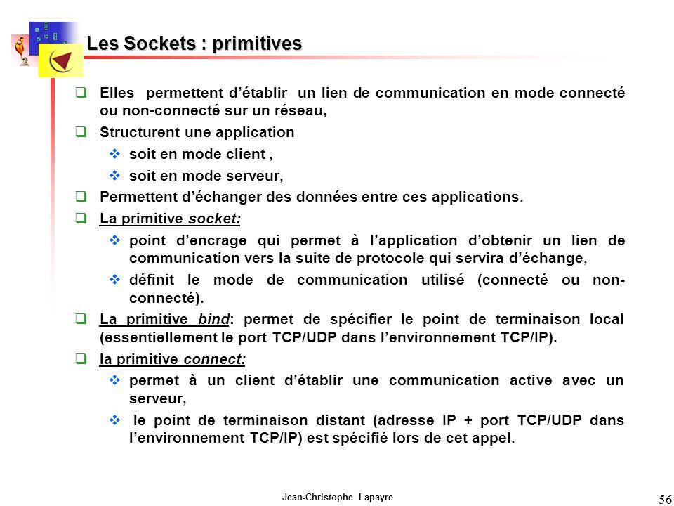 Jean-Christophe Lapayre 56 Les Sockets : primitives Elles permettent détablir un lien de communication en mode connecté ou non-connecté sur un réseau, Structurent une application soit en mode client, soit en mode serveur, Permettent déchanger des données entre ces applications.