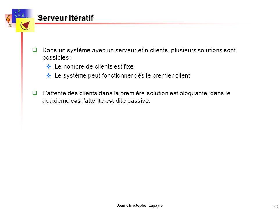 Jean-Christophe Lapayre 70 Serveur itératif Dans un système avec un serveur et n clients, plusieurs solutions sont possibles : Le nombre de clients es