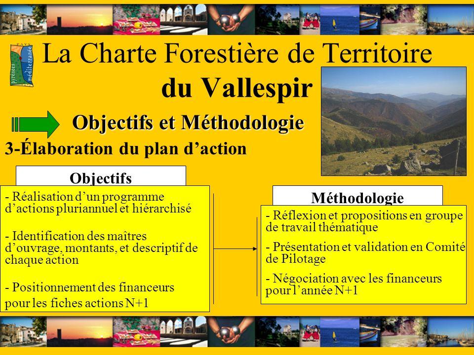 Méthodologie Objectifs La Charte Forestière de Territoire du Vallespir Objectifs et Méthodologie 3-Élaboration du plan daction - Réalisation dun progr
