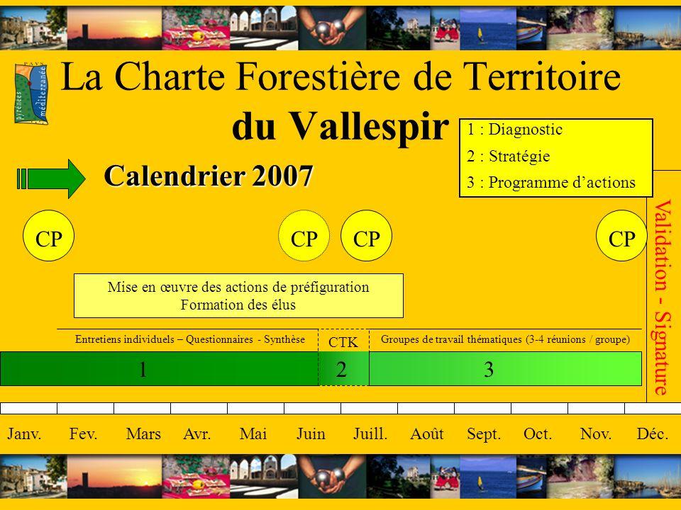 La Charte Forestière de Territoire du Vallespir Calendrier 2007 Janv.Fev.MarsAvr.MaiJuinJuill.AoûtSept.Oct.Nov.Déc. 123 Mise en œuvre des actions de p