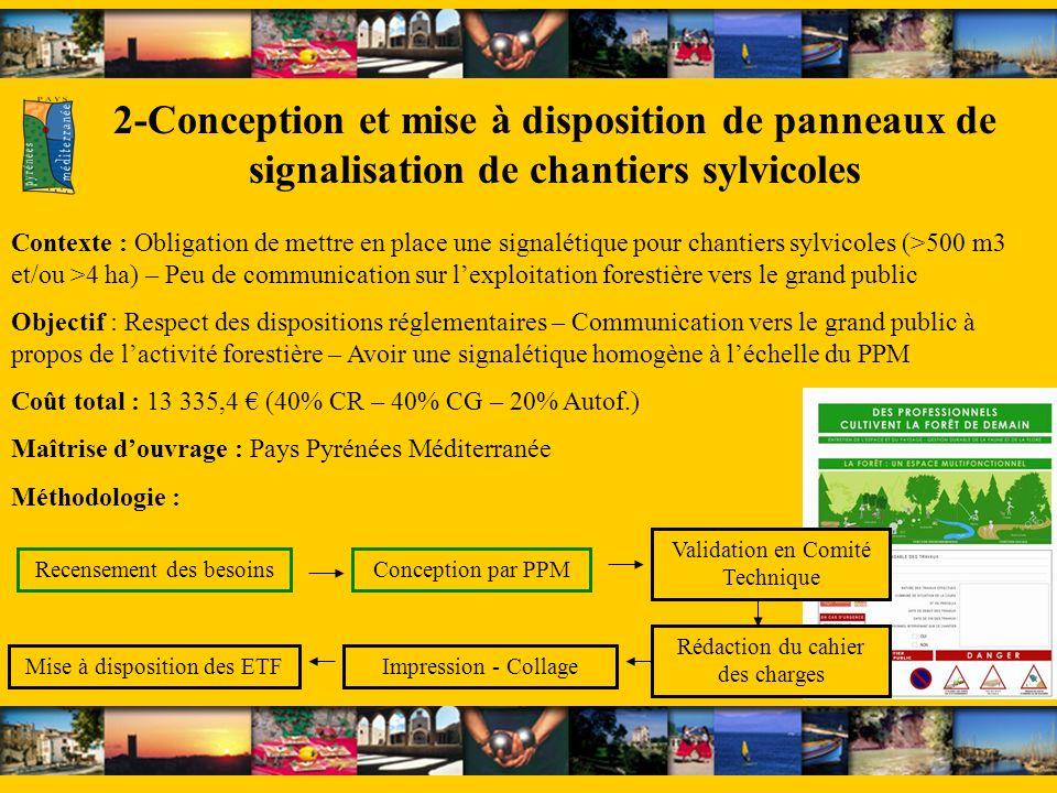 2-Conception et mise à disposition de panneaux de signalisation de chantiers sylvicoles Contexte : Obligation de mettre en place une signalétique pour