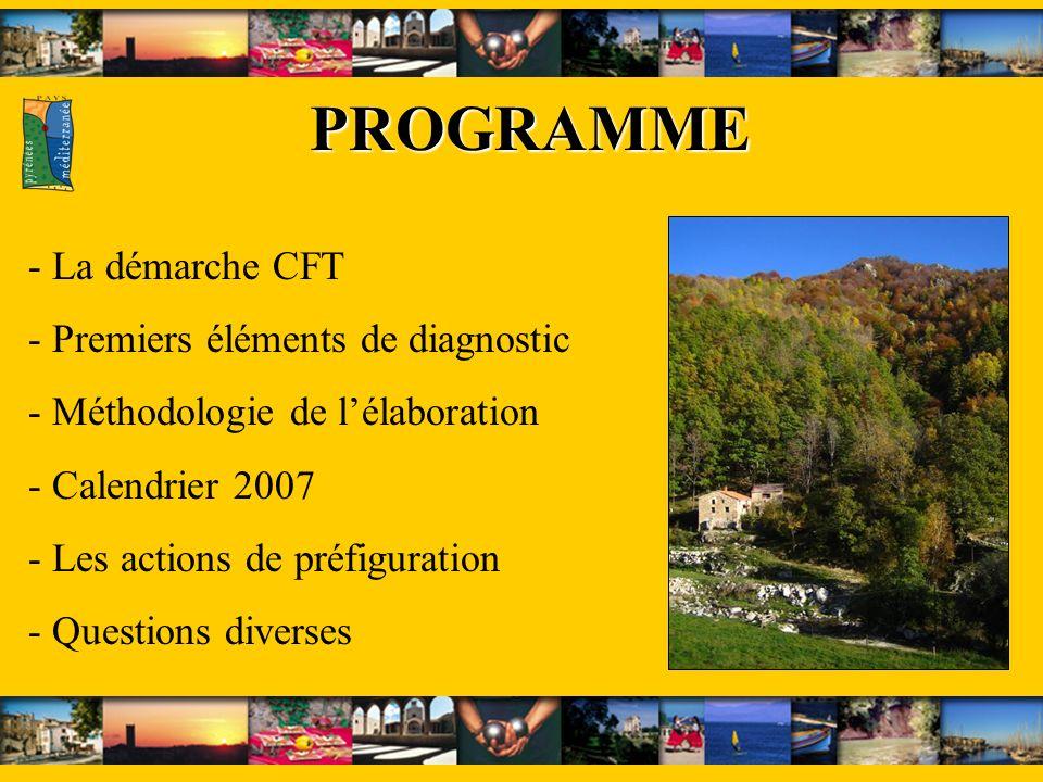 PROGRAMME PROGRAMME - La démarche CFT - Premiers éléments de diagnostic - Méthodologie de lélaboration - Calendrier 2007 - Les actions de préfiguration - Questions diverses