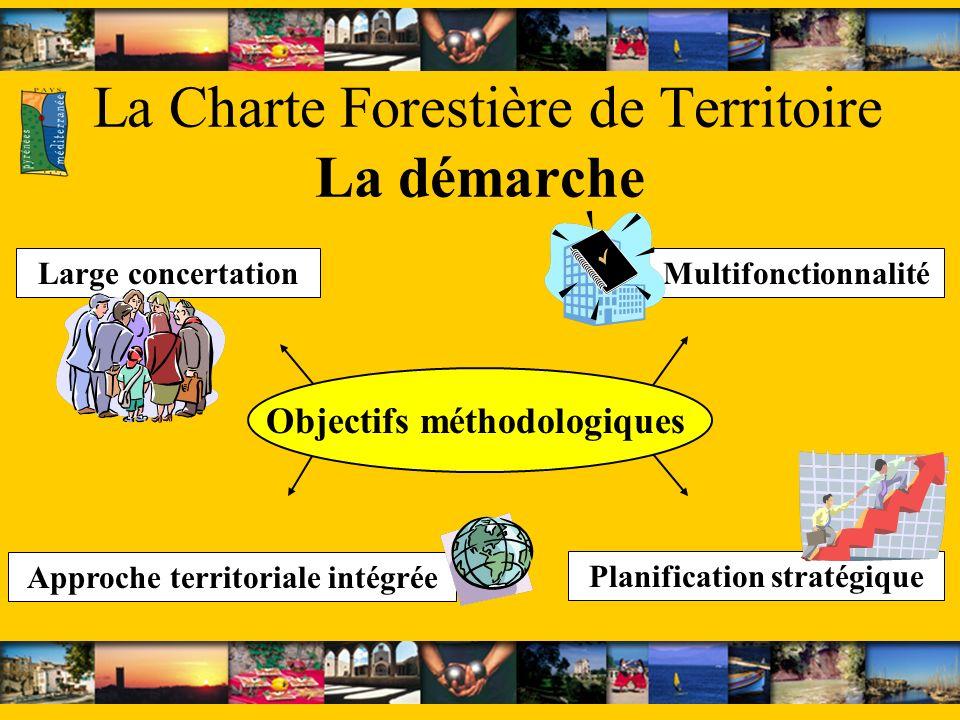 La Charte Forestière de Territoire La démarche Multifonctionnalité Objectifs méthodologiques Large concertation Planification stratégique Approche territoriale intégrée