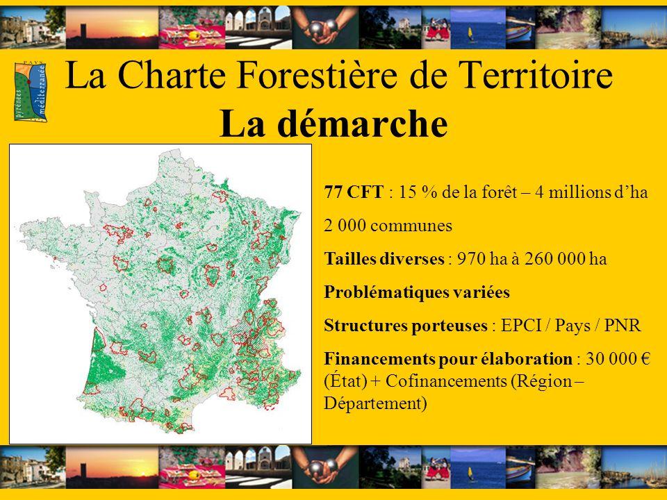 La Charte Forestière de Territoire La démarche 77 CFT : 15 % de la forêt – 4 millions dha 2 000 communes Tailles diverses : 970 ha à 260 000 ha Problématiques variées Structures porteuses : EPCI / Pays / PNR Financements pour élaboration : 30 000 (État) + Cofinancements (Région – Département)