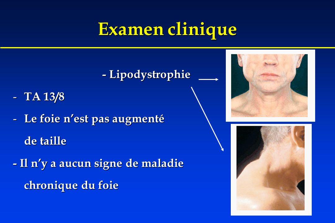 Examen clinique - Lipodystrophie - TA 13/8 - Le foie nest pas augmenté de taille - Il ny a aucun signe de maladie chronique du foie