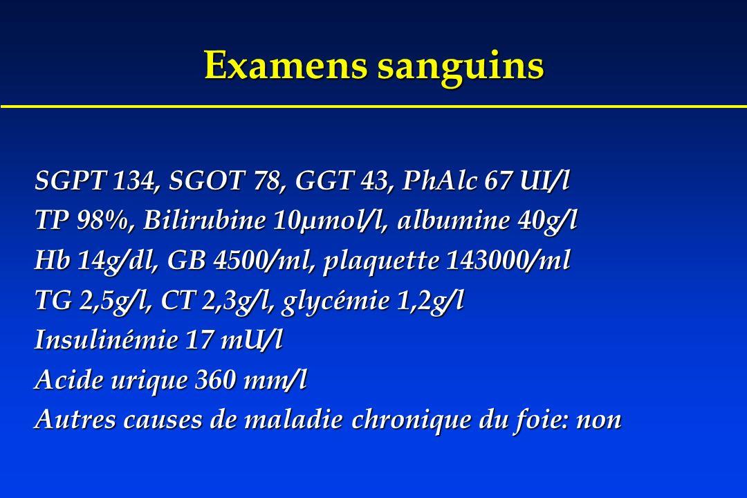 Examens sanguins SGPT 134, SGOT 78, GGT 43, PhAlc 67 UI/l TP 98%, Bilirubine 10µmol/l, albumine 40g/l Hb 14g/dl, GB 4500/ml, plaquette 143000/ml TG 2,