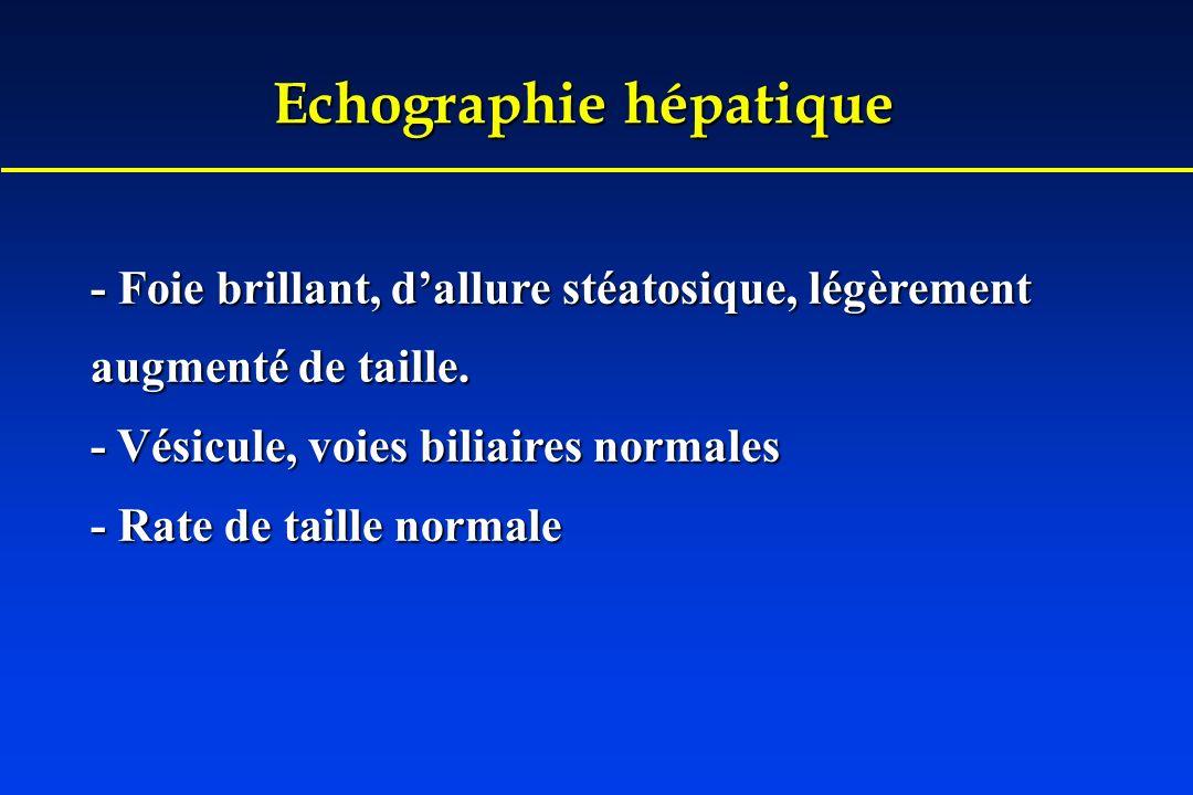 Echographie hépatique - Foie brillant, dallure stéatosique, légèrement augmenté de taille. - Vésicule, voies biliaires normales - Rate de taille norma