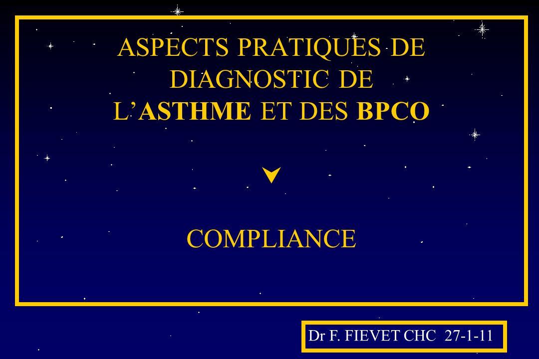 ASPECTS PRATIQUES DE DIAGNOSTIC DE LASTHME ET DES BPCO COMPLIANCE Dr F. FIEVET CHC 27-1-11