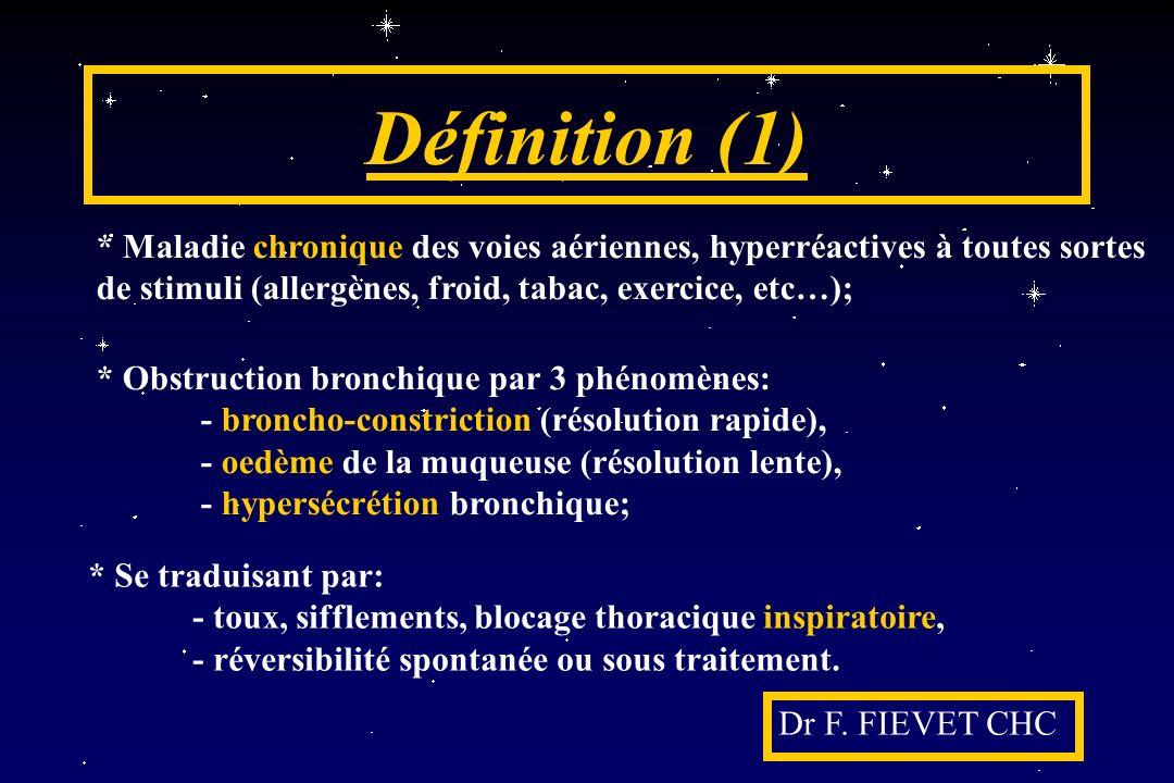 Définition (1) Dr F. FIEVET CHC * Maladie chronique des voies aériennes, hyperréactives à toutes sortes de stimuli (allergènes, froid, tabac, exercice