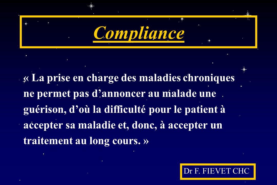 Compliance « La prise en charge des maladies chroniques ne permet pas dannoncer au malade une guérison, doù la difficulté pour le patient à accepter s
