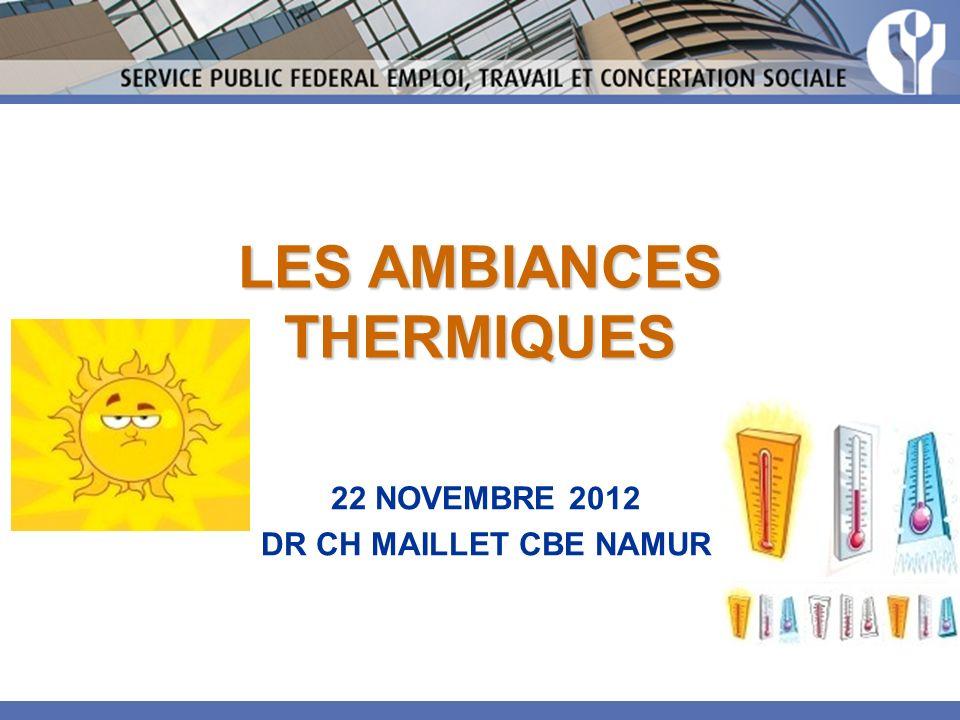 LES AMBIANCES THERMIQUES 22 NOVEMBRE 2012 DR CH MAILLET CBE NAMUR