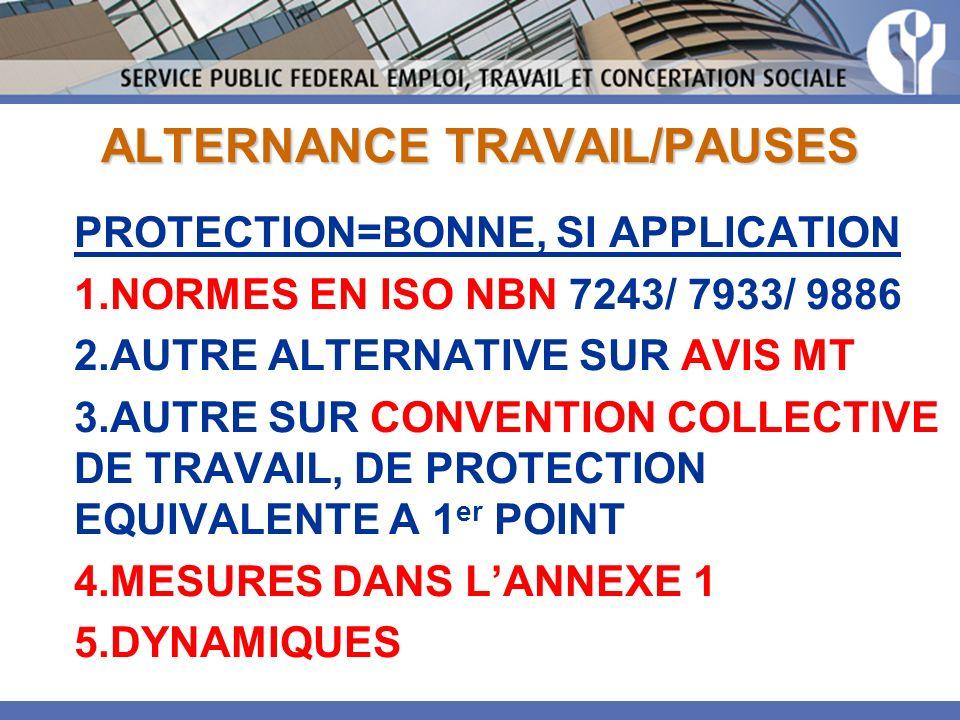 ALTERNANCE TRAVAIL/PAUSES PROTECTION=BONNE, SI APPLICATION 1.NORMES EN ISO NBN 7243/ 7933/ 9886 2.AUTRE ALTERNATIVE SUR AVIS MT 3.AUTRE SUR CONVENTION