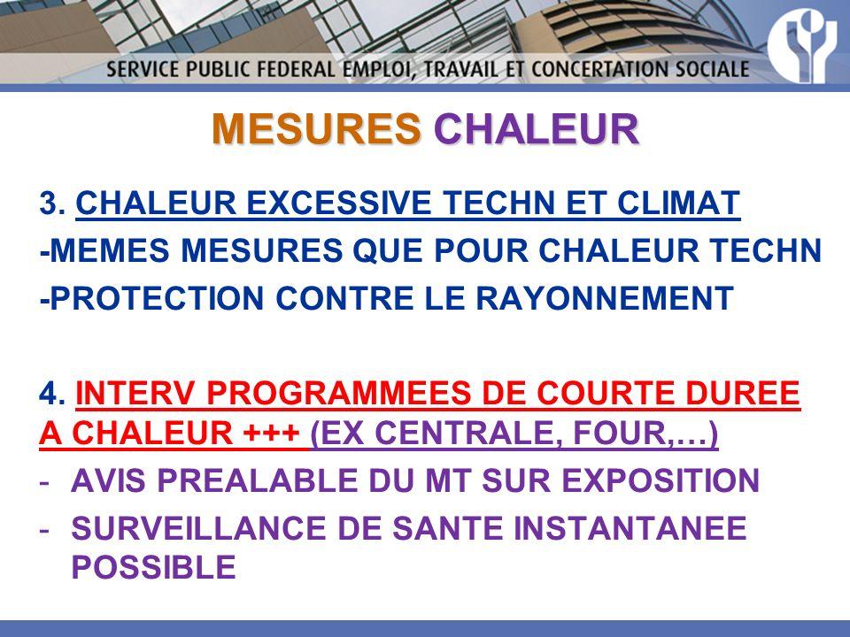 MESURES CHALEUR 3. CHALEUR EXCESSIVE TECHN ET CLIMAT -MEMES MESURES QUE POUR CHALEUR TECHN -PROTECTION CONTRE LE RAYONNEMENT 4. INTERV PROGRAMMEES DE