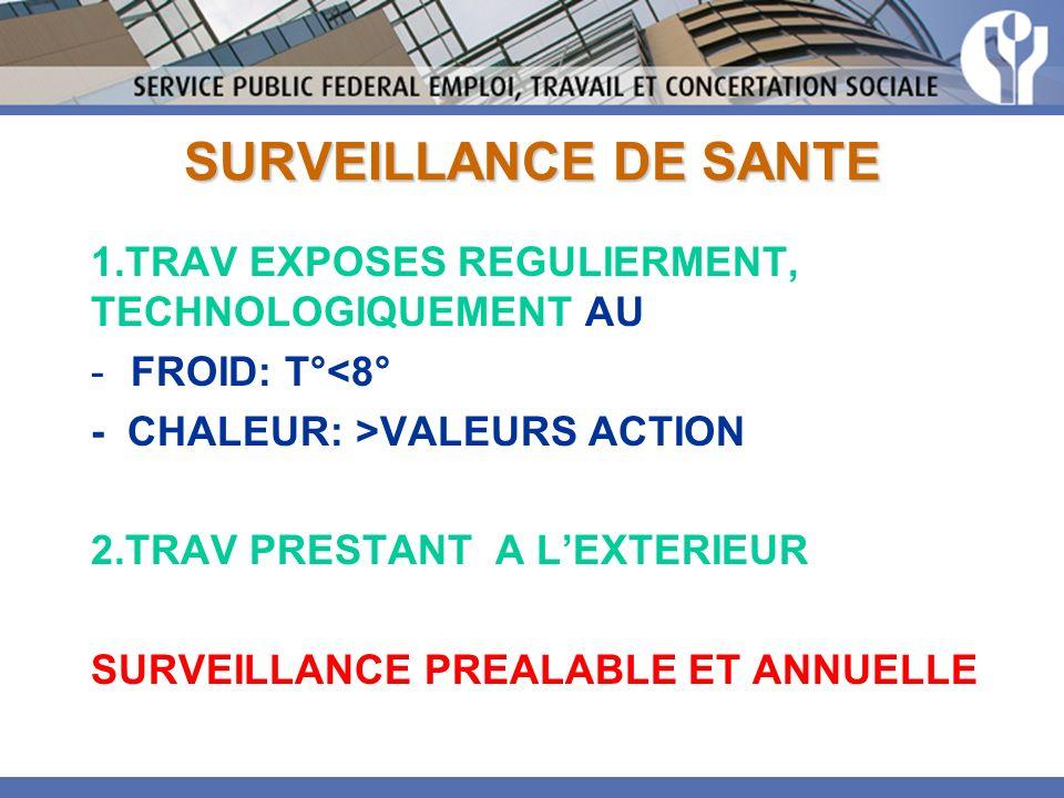 SURVEILLANCE DE SANTE 1.TRAV EXPOSES REGULIERMENT, TECHNOLOGIQUEMENT AU -FROID: T°<8° - CHALEUR: >VALEURS ACTION 2.TRAV PRESTANT A LEXTERIEUR SURVEILL