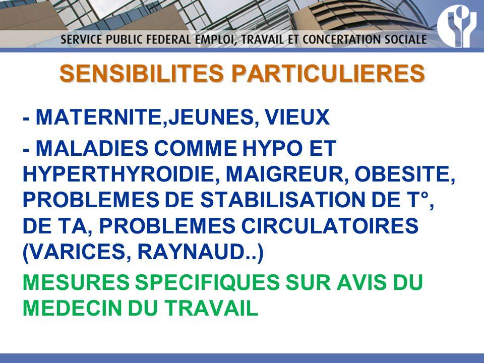 SENSIBILITES PARTICULIERES - MATERNITE,JEUNES, VIEUX - MALADIES COMME HYPO ET HYPERTHYROIDIE, MAIGREUR, OBESITE, PROBLEMES DE STABILISATION DE T°, DE