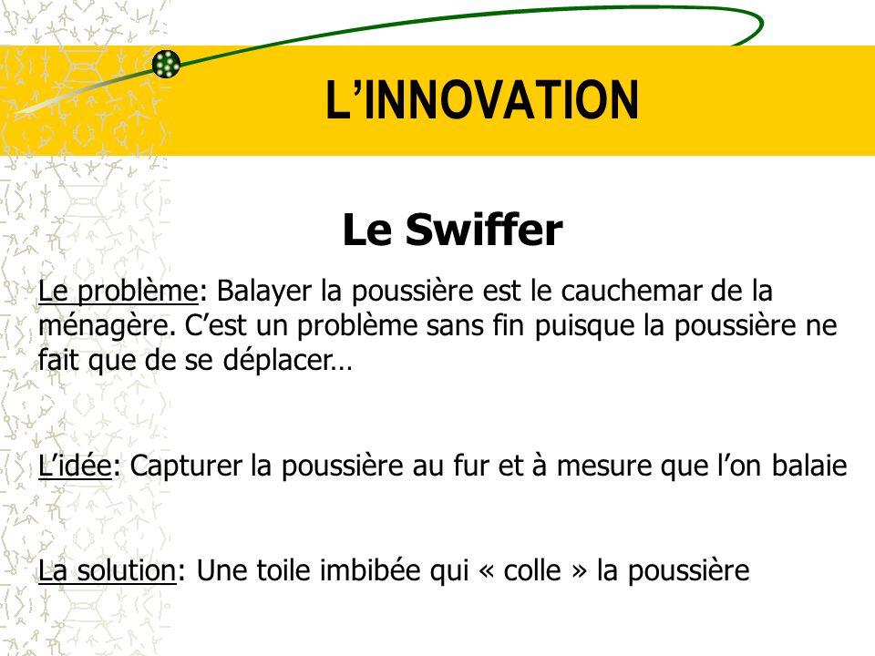 LINNOVATION Le Swiffer Le problème: Balayer la poussière est le cauchemar de la ménagère. Cest un problème sans fin puisque la poussière ne fait que d