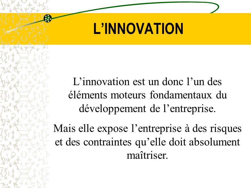 LINNOVATION Linnovation est un donc lun des éléments moteurs fondamentaux du développement de lentreprise. Mais elle expose lentreprise à des risques