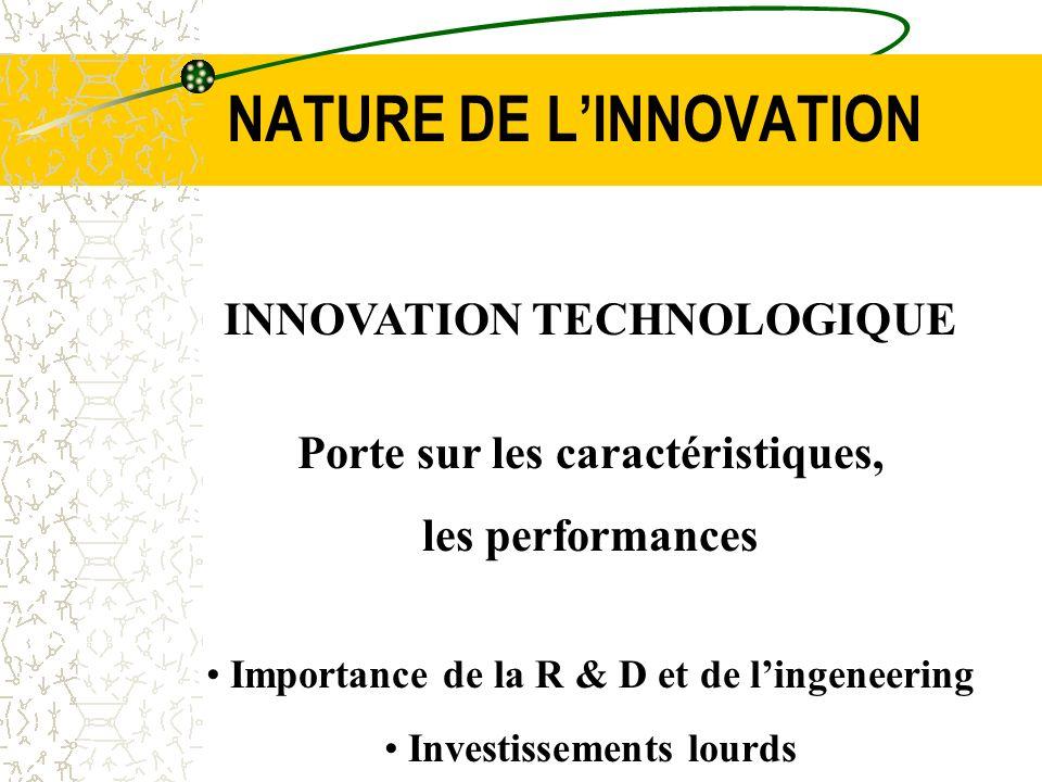 NATURE DE LINNOVATION INNOVATION TECHNOLOGIQUE Porte sur les caractéristiques, les performances Importance de la R & D et de lingeneering Investisseme
