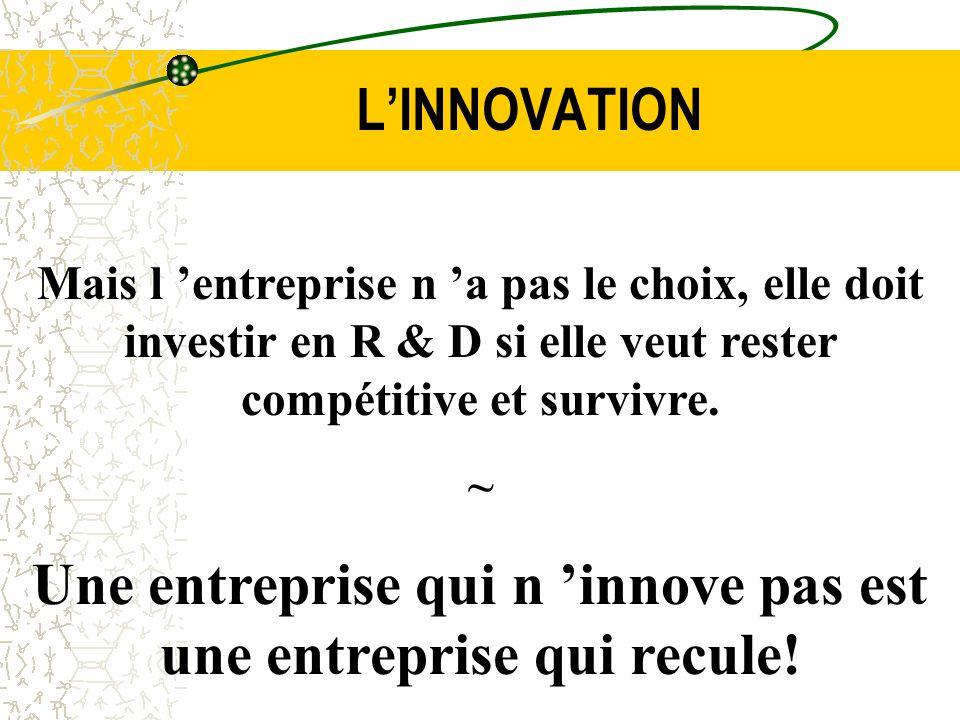 LINNOVATION Mais l entreprise n a pas le choix, elle doit investir en R & D si elle veut rester compétitive et survivre. ~ Une entreprise qui n innove