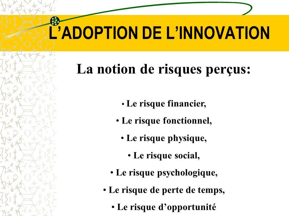 LADOPTION DE LINNOVATION La notion de risques perçus: Le risque financier, Le risque fonctionnel, Le risque physique, Le risque social, Le risque psyc