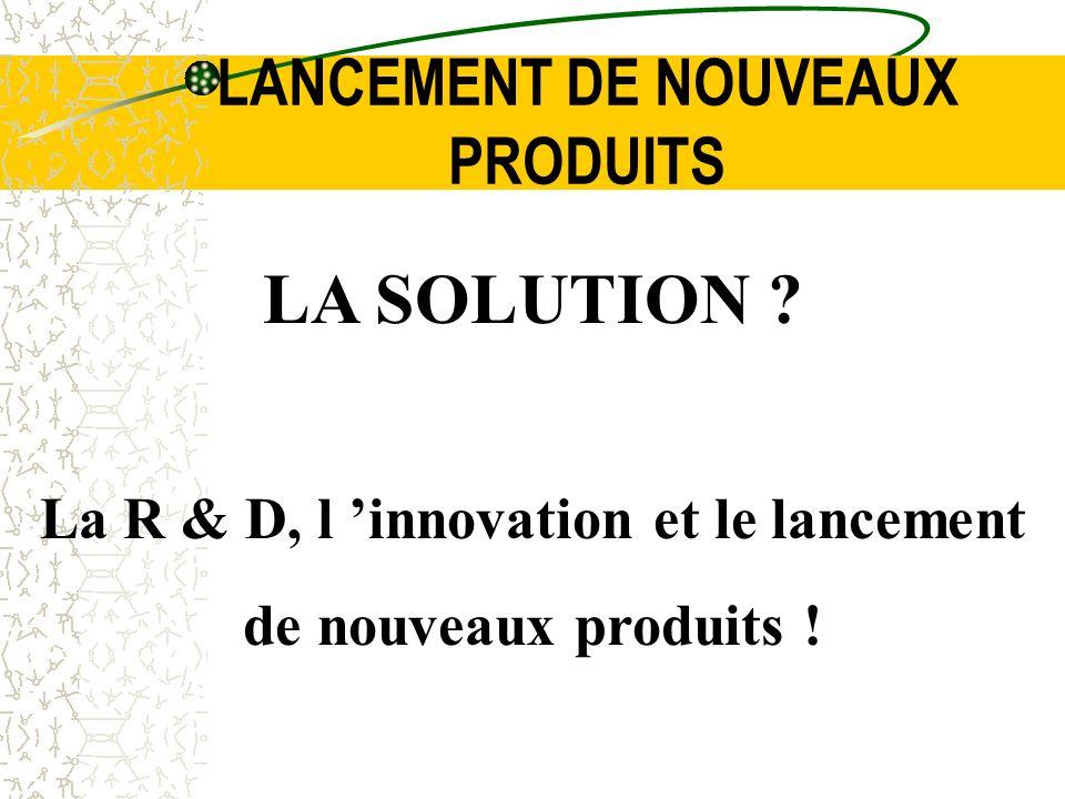 LANCEMENT DE NOUVEAUX PRODUITS LA SOLUTION ? La R & D, l innovation et le lancement de nouveaux produits !