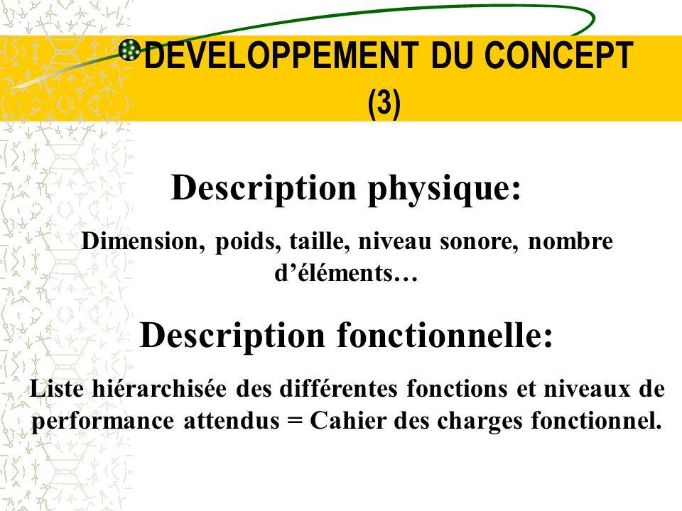 DEVELOPPEMENT DU CONCEPT (3) Description physique: Dimension, poids, taille, niveau sonore, nombre déléments… Description fonctionnelle: Liste hiérarc