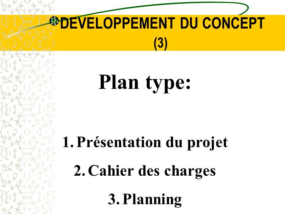 DEVELOPPEMENT DU CONCEPT (3) Plan type: 1.Présentation du projet 2.Cahier des charges 3.Planning